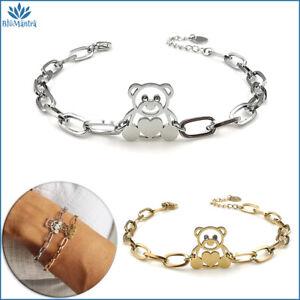Bracciale da donna con orso orsetto in acciaio inox a maglia braccialetto regalo