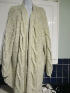 *YOURS--SIZE 30/32 * BEIGE *THICK**KNIT* OPEN CARDIGAN