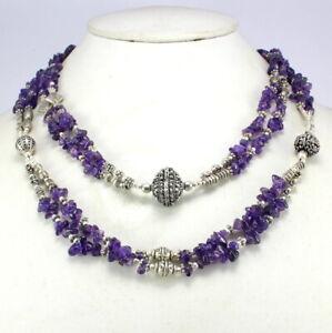 Gemstone Necklace Natural Amethyst Gemstone Beaded Handmade Jewelry Long Length