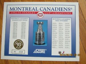 1992 93 Score Stanley Cup Hall of Famers Commemorative Sheet - Canadiens     ZH1