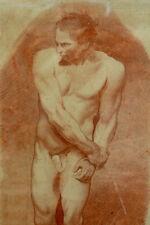 Beau tableau ancien academie Nu portrait d'homme 18 ème dessin sanguine signé