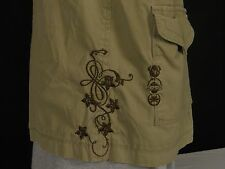 Quicksilver Canvas Khaki Jacket Mens XL Embroidered Designs 3 Button Front Lined
