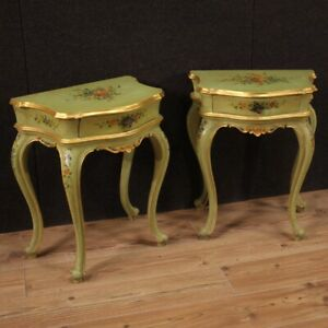 Pair Of Nightstands Venetians Furniture Lacquered & Painted IN Antique Style