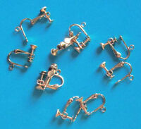 5 pairs of gold plated screw/clip-on earrings, findings for jewellery making