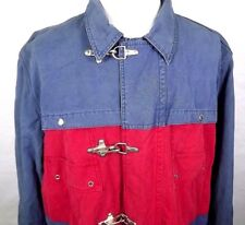 Firemen Rescue Jacket Thornton Bay Mens Size L Large Metal Clasp Cotton Red Blue