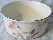 """Mikasa Silk Flowers White Green and Pink F3003 8"""" Souffle Dish AS IS"""