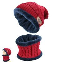 Knitted Beanie Skull Set Men's Cap Warm Hat Scarf Winter 2pcs