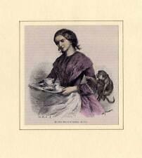 Sylt-schöne Sylterin-Tracht-Trachten Holzstich 1865