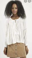 Topshop Poet Blouse Casual Top Long Sleeve Cream Size 10 EK03