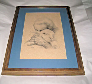 Sketch Likely a Print Jesus With a Lamb Kathleen Brown KFB Wood Frame