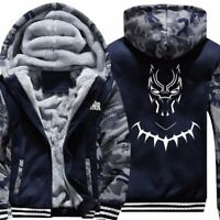Black Panther Cosplay Mens Warm Jacket Hoodie Sweatshirts Thicken Zipper Coat