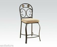 Curved Metal Legs Contemporary Dining Furniture Counter Height Chairs 2 Pcs Set