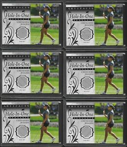(6) 2021 Artifacts Cheyenne Woods Hole In One Remnants Worn Shirt Relic Card LOT