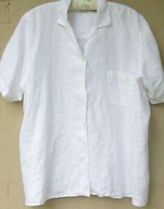 L.L. Bean Medium Weight White Linen Camp Shirt   Size 3X