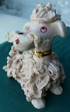 Vintage Spaghetti Poodle Pink Ornate Ceramic Figurine Excellent Paint