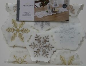 Christmas Threshold Cut-Out Silver & Gold Snowflake Table Runner 14x40 in NWT