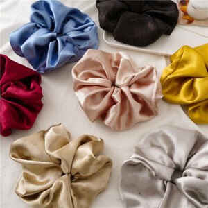 Glitter Smooth Satin Oversized Elastic Scrunchies Hair Rope Ring Tie Rubber Band