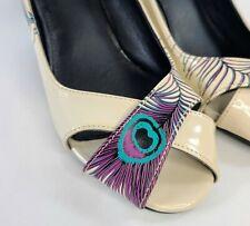 TUK Size 8 Peacock Feather Pumps Leather Slip On Heels Open Peep Toe Shoes EUC