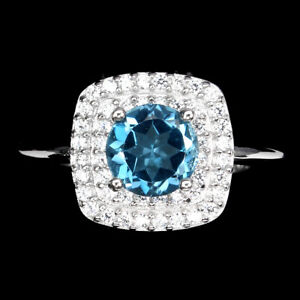 Round London Blue Topaz 6mm Cz 14K White Gold Plate 925 Sterling Silver Ring 9