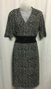 Dress Size 12 M Wrap Pencil Work Corporate Stretch Short Sleeve Sistaco B&W