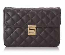 BCBG Clutch Purse Women's Black Quilted Flap Bag Convertible Cocktail New