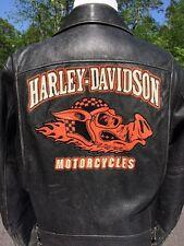 Rare Harley Davidson Road Hog Leather Jacket Men's Large Black