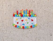 SMALL White Birthday Cake Confetti/Shimmery Iron on Applique/Embroidered Patch