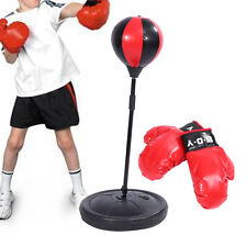 Kids Punching Bag Toy Set W/Adjustable Height Stand Boxing Glove Speed Ball Kit