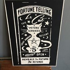 Wooden Vintage Fortune Teller Sign White Cat 12X8'' Sign Plaque Gift Retro Gypsy