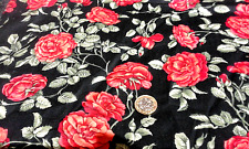 red roses fabric retro/shabby/vintage traditional on black metre 100% cotton