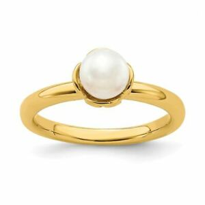 Sterling Silver White Cultured Pearl Gold-plated Ring MSRP$138