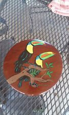"""Wooden Round Costa Rica Trinket Box with Lid Tucan birds hand painted 7"""" wide"""