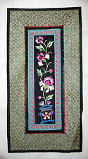 Beautiful Chinese Vined Flower Pot Pattern Silk Tapestry Wall Hanging Embroidery