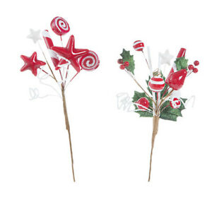 Peppermint Candy Christmas Picks: 11 inches w