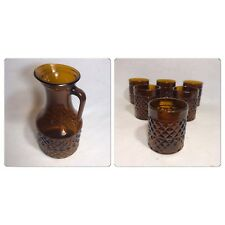 Servicio Antiguo Jus Jarra + 6 Vasos Vaso Moldeado Naranja Geométrico Vintage