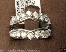 1ct 14 Round Diamonds Solitaire Enhancer Ring Guard Wrap 14k White Gold