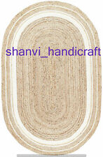 Natural Indian Braided Oval Shape Area Rug Natural Rag Jute Mat Floor Rug Capret