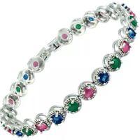 Gorgeous Multi Gemstone 7 Inch Tennis Bracelet 14KT White Gold