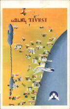 El Al ELAL Airlines Map Israel Vintage Airline Issued Postcard