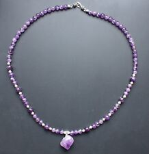 AMETHYST NATURAL Necklace Semi Precious Handmade Gemstone Beads Healing Pendant