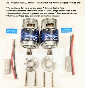 PAIR of MLToys 775 Motors for Power Wheels Dune Racers SPEED TUNED