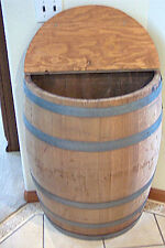Wine Barrel Wall Storage With Hinged Lid, solid oak, By Wine Barrel Creations
