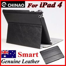 Premium CHINAO Genuine Leather Pouch Case For New iPad 2/3/4(retina)BLACK Cover