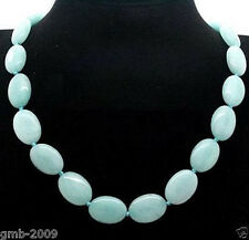 fashion 13x18mm light Blue Gemstones Oval Beads Necklace 18""