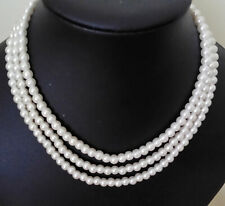 """18"""" Triple Strand 6mm Ivory Cream Glass Pearl Necklace Lobster Clasp."""