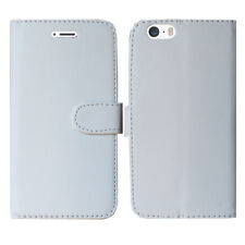 PLAIN WHITE LEATHER WALLET BOOK FLIP FONE CASE FOR APPLE iPHONE 4 5C 5 6 7 8 & X