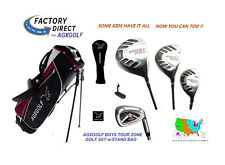 AGXGOLF BOYS TEEN TOUR ONE GOLF CLUBS wDRIVER+3WD+HYBRID+IRONS+WEDGE+BAG+PUTTER