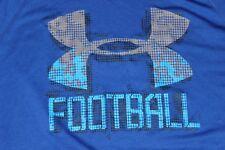 Under Armour Mens Medium Loose Fit Heat Gear Short Sleeve Football Blue Shirt