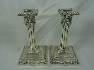 PAIR, EDWARDIAN silver CANDLESTICKS, 1902