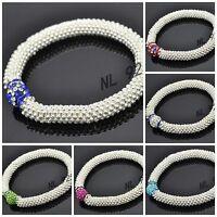 WHOLESALE 10mm Crystal Clay Bead SHAMBALLA STYLE Snowflake Stretch Bracelets